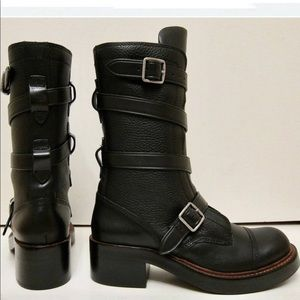 🔥Coach Moto Boots in Black Pebbled Soft Leather
